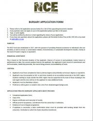 NCE Bursary Application Form